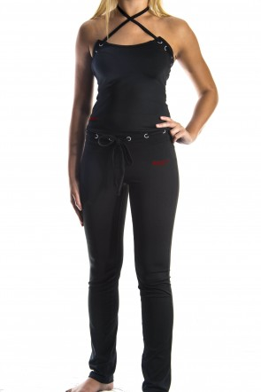 Yoga Cross Top - Black (with Red Logo)