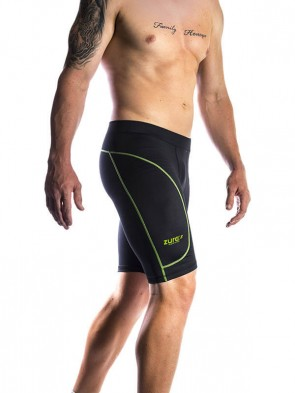 Branded Compressed Shorts - Green (black with green logo)