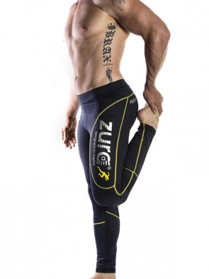Ultimate Compressed Tights - Yellow (black with yellow logo)