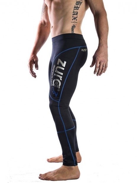 Ultimate Compressed Tights - Blue (black with blue logo)