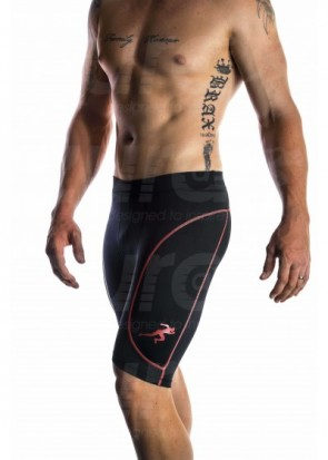 Branded Compressed Shorts - Red (black with red logo)